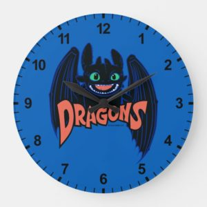 """""""Dragons"""" Toothless Wings Graphic Large Clock"""