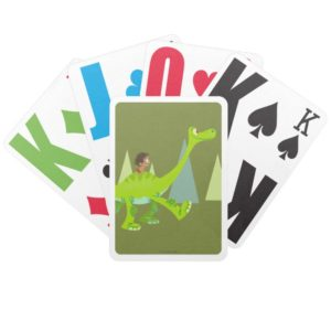 Drawing of Spot Riding Arlo Bicycle Playing Cards