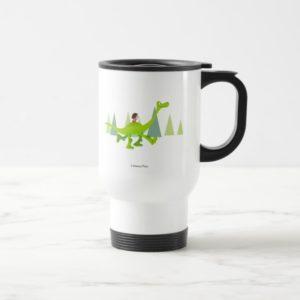 Drawing of Spot Riding Arlo Travel Mug