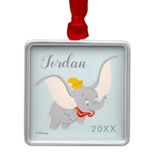 Dumbo Soaring Through the Sky Metal Ornament