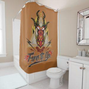 """Fire It Up"" Hookfang Tribal Emblem Shower Curtain"