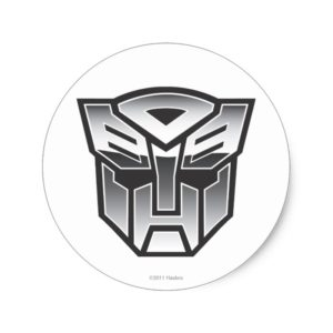 G1 Autobot Shield BW Classic Round Sticker
