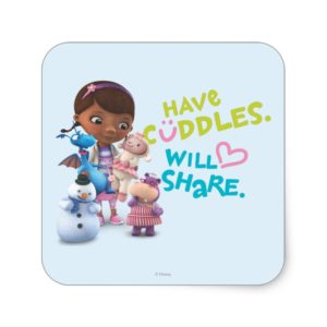 Have Cuddles Will Share Square Sticker