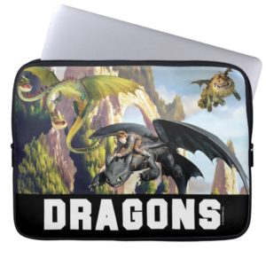 Hiccup and Dragons Flying Over Island Forest Computer Sleeve
