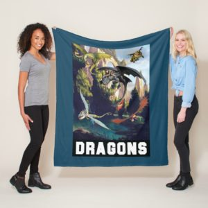 Hiccup and Dragons Flying Over Island Forest Fleece Blanket
