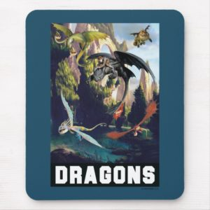 Hiccup and Dragons Flying Over Island Forest Mouse Pad