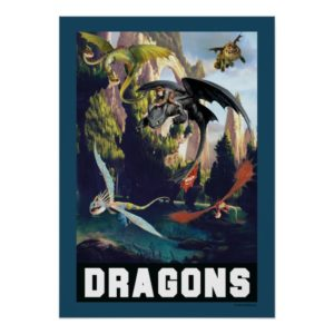 Hiccup and Dragons Flying Over Island Forest Poster