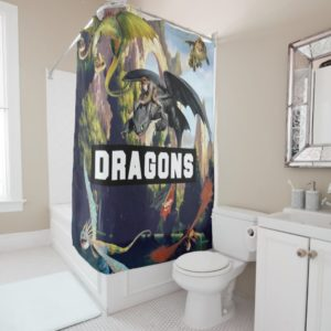 Hiccup and Dragons Flying Over Island Forest Shower Curtain
