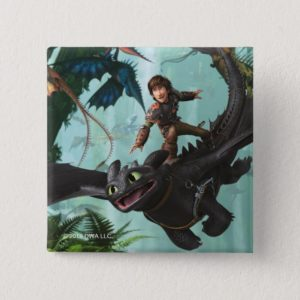 """Hiccup Riding Toothless """"Dragon Rider"""" Scene Button"""