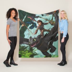 """Hiccup Riding Toothless """"Dragon Rider"""" Scene Fleece Blanket"""
