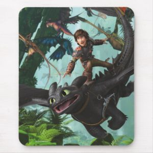 """Hiccup Riding Toothless """"Dragon Rider"""" Scene Mouse Pad"""