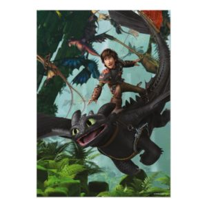 """Hiccup Riding Toothless """"Dragon Rider"""" Scene Poster"""