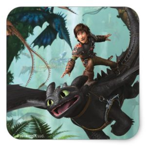 """Hiccup Riding Toothless """"Dragon Rider"""" Scene Square Sticker"""