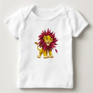 Lion King Simba cub mane of pink red leaves Disney Baby T-Shirt