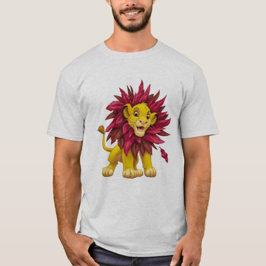 Lion King Simba cub mane of pink red leaves Disney T-Shirt