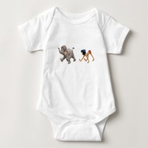 Jungle Book's Mowgli and Baby Elephant marching Baby Bodysuit