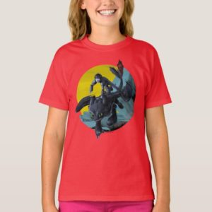 Stylized Toothless And Hiccup Flying Graphic T-Shirt