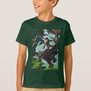 """Hiccup Riding Toothless """"Dragon Rider"""" Scene T-Shirt"""
