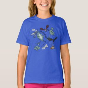 Dragons Flying Over Map Pattern T-Shirt