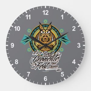"""""""It's a real Gronkle Fest out there"""" Tribal Emblem Large Clock"""