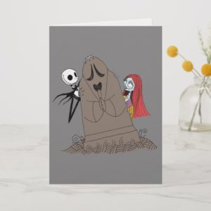 Jack and Sally Hiding Behind Tombstone Holiday Card