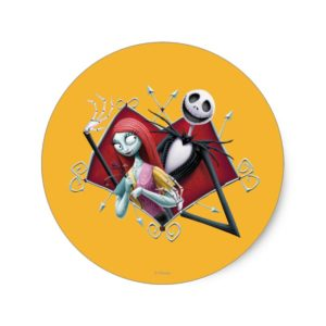 Jack and Sally in Heart Classic Round Sticker