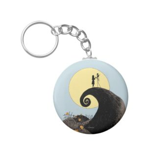 Jack and Sally   Moon Silhouette Keychain