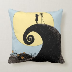 Jack and Sally | Moon Silhouette Throw Pillow