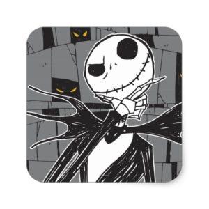 Jack Skellington   Spooky Eye Background Square Sticker