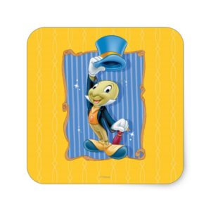 Jiminy Cricket Lifting His Hat Square Sticker