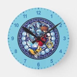 Kingdom Hearts | Blue Stained Glass Key Art Round Clock