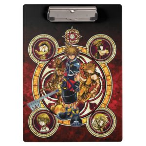Kingdom Hearts II   Gold Stained Glass Key Art Clipboard