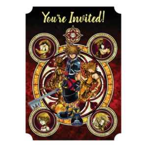 Kingdom Hearts II | Gold Stained Glass Key Art Invitation