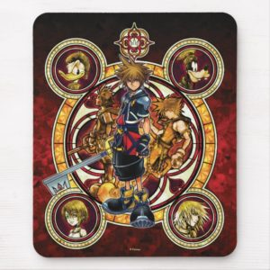 Kingdom Hearts II   Gold Stained Glass Key Art Mouse Pad