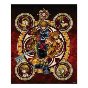 Kingdom Hearts II | Gold Stained Glass Key Art Poster