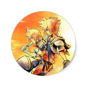 Kingdom Hearts II | Roxas & Sora Eating Ice Pops Classic Round Sticker