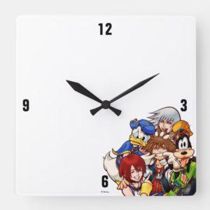 Kingdom Hearts | Main Cast Illustration Square Wall Clock