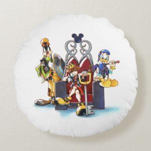 Kingdom Hearts | Sora, Donald, & Goofy On Throne Round Pillow