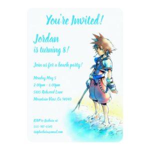 Kingdom Hearts | Sora On Beach Watercolor Invitation