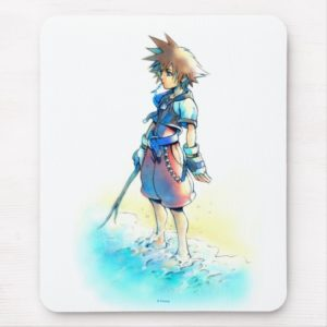 Kingdom Hearts | Sora On Beach Watercolor Mouse Pad