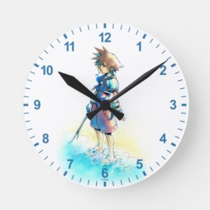 Kingdom Hearts | Sora On Beach Watercolor Round Clock