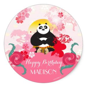 Kung Fu Panda | Pink Floral Birthday Classic Round Sticker