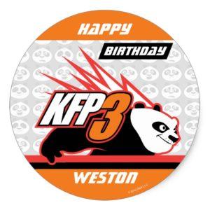 Kung Fu Panda   Po Striped Birthday Classic Round Sticker