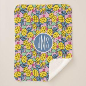 Lilo & Stitch   Monogram Pineapple Pattern Sherpa Blanket