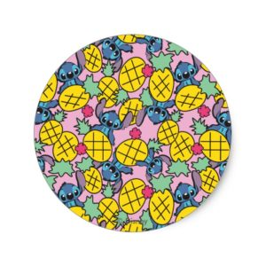 Lilo & Stitch   Pineapple Pattern Classic Round Sticker