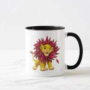 Lion King Simba cub mane of pink red leaves Disney Mug