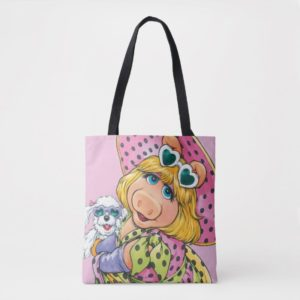 Miss Piggy Holding Puppy Tote Bag