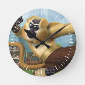 Monkey Fight Pose Round Clock