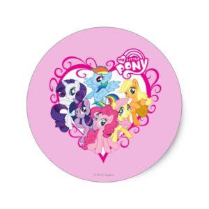 My Little Ponies Heart Classic Round Sticker