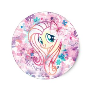 My Little Pony | Fluttershy Floral Watercolor Classic Round Sticker